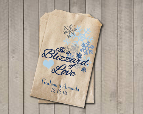 Winter Wedding Favor Bags, Snowflake Favor Bags, Personalized Wedding Candy Bags, Winter Wedding Candy Buffet Bags - In a Blizzard of Love - Get The Party Started