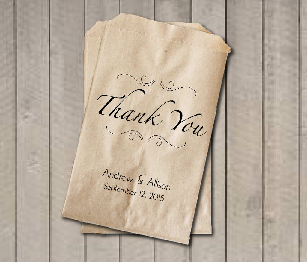 THANK YOU Wedding Favor Bags, Thank You Favor Bags, Personalized Wedding Candy Bags, Wedding Candy Buffet Bags, Engagement Party Gift Bag - Get The Party Started