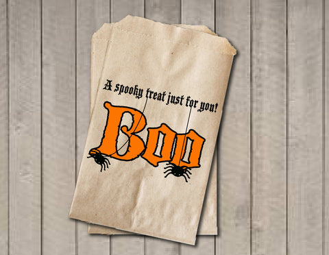BOO Halloween Candy Bags, Candy Bags, Halloween Favor Bag, Halloween Candy Bags, Halloween Treat Bag, Halloween Party - Orange & Black - Get The Party Started