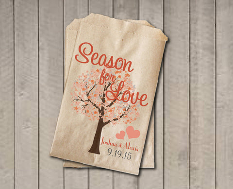 Wedding Favor Bags, Season For Love Favor Bags, Personalized Wedding Candy Bags, Fall Wedding Candy Buffet Bags - Fall Colors with Tree - Get The Party Started