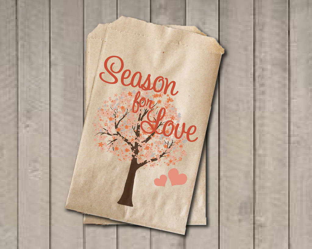 Fall Wedding Favor Bags, Season For Love Favor Bags, Wedding Candy Bags, Fall Wedding Candy Buffet Bags - Fall Colors Bridal Shower - Get The Party Started