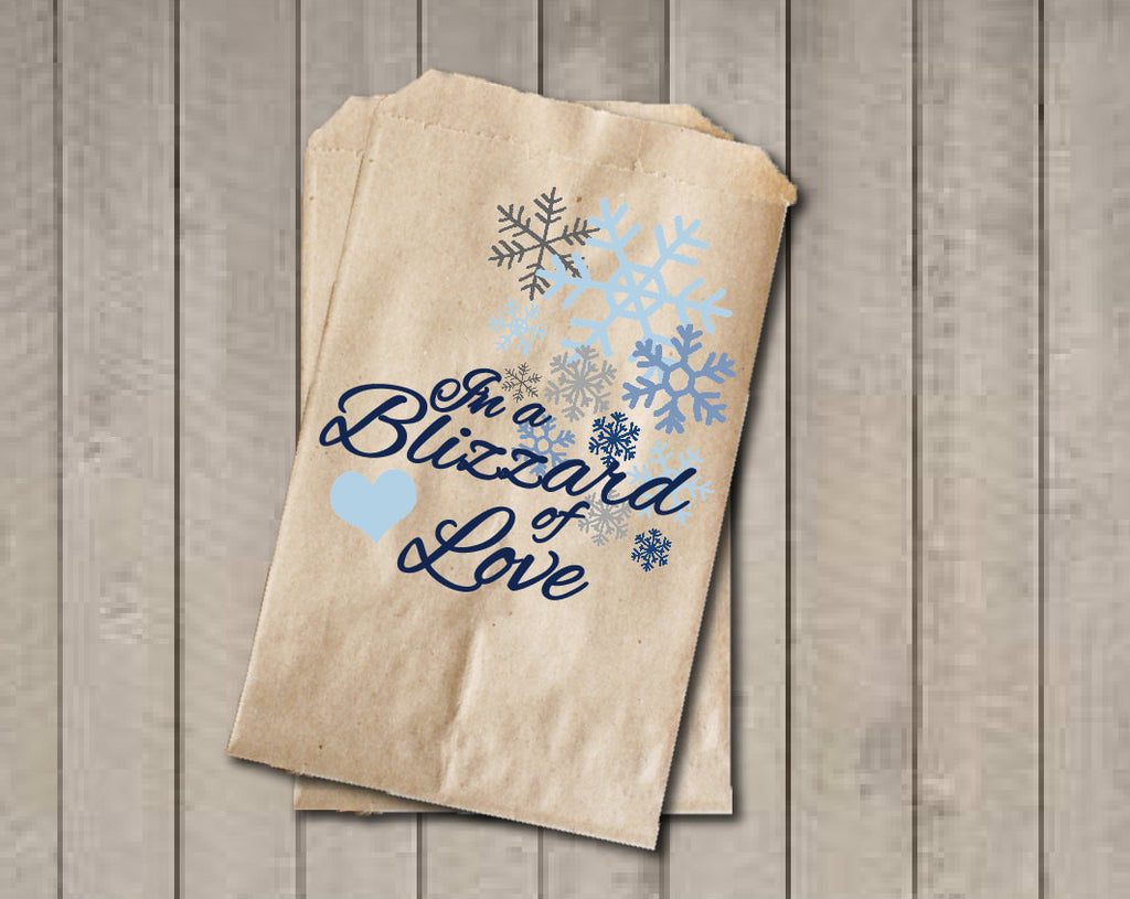 Winter Wedding Favor Bags, Snowflake Favor Bags, Wedding Candy Bags, Winter Wedding Candy Buffet Bags - In a Blizzard of Love, Bridal Shower - Get The Party Started