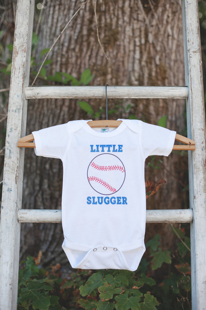 Little Slugger Baseball Bodysuit - Baseball Onepiece Bodysuit - Baseball Outfit - Boys Romper - Baseball Baby Shower Gift - Get The Party Started