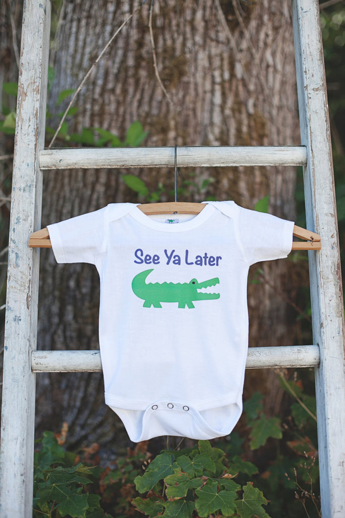 See Ya Later Alligator Bodysuit - Alligator Onepiece Bodysuit - Alligator Outfit - Boys Romper - Funny Novelty Onepiece - Get The Party Started