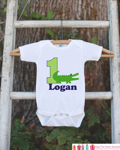 First Birthday Alligator Bodysuit - Personalized Bodysuit For Boy's 1st Birthday Party - Alligator Onepiece Birthday Outfit With Name & Age - Get The Party Started