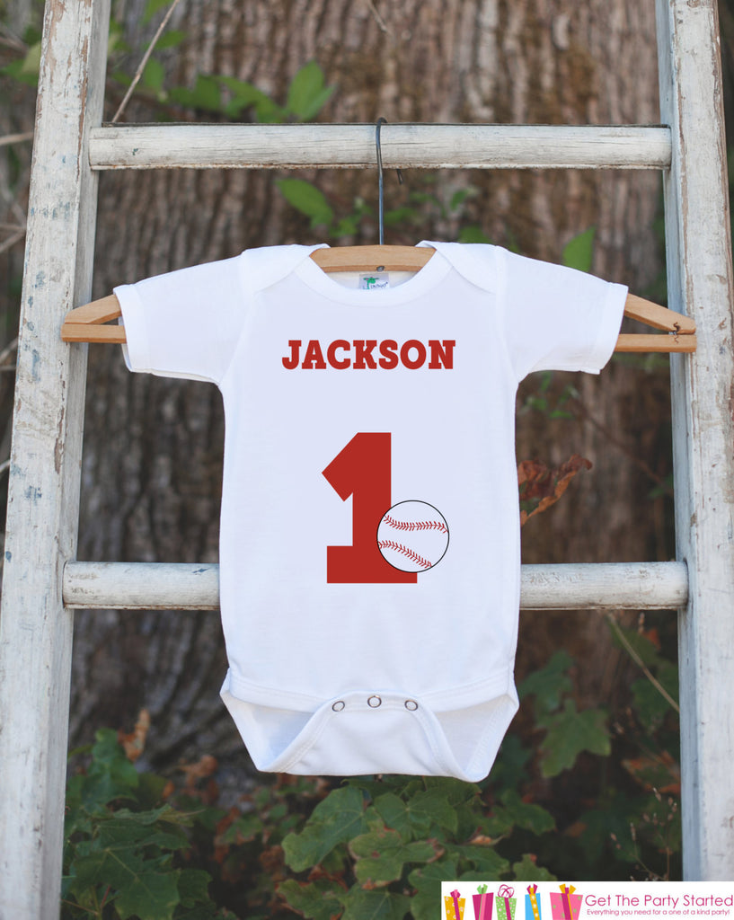 First Birthday Baseball Bodysuit - Personalized Bodysuit For Boy's 1st Birthday Party - Baseball Onepiece Birthday Outfit With Name & Age - Get The Party Started