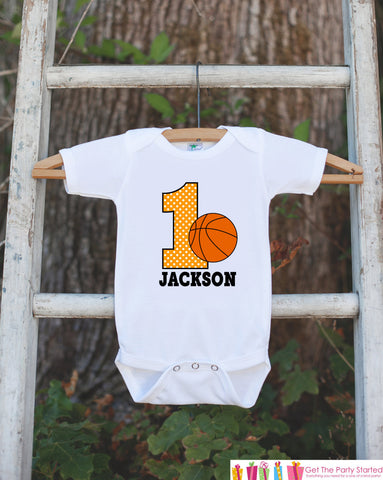 First Birthday Basketball Outfit - Personalized Bodysuit For Boy's 1st Birthday Party - Basketball Bodysuit Birthday Outfit With Name & Age - Get The Party Started
