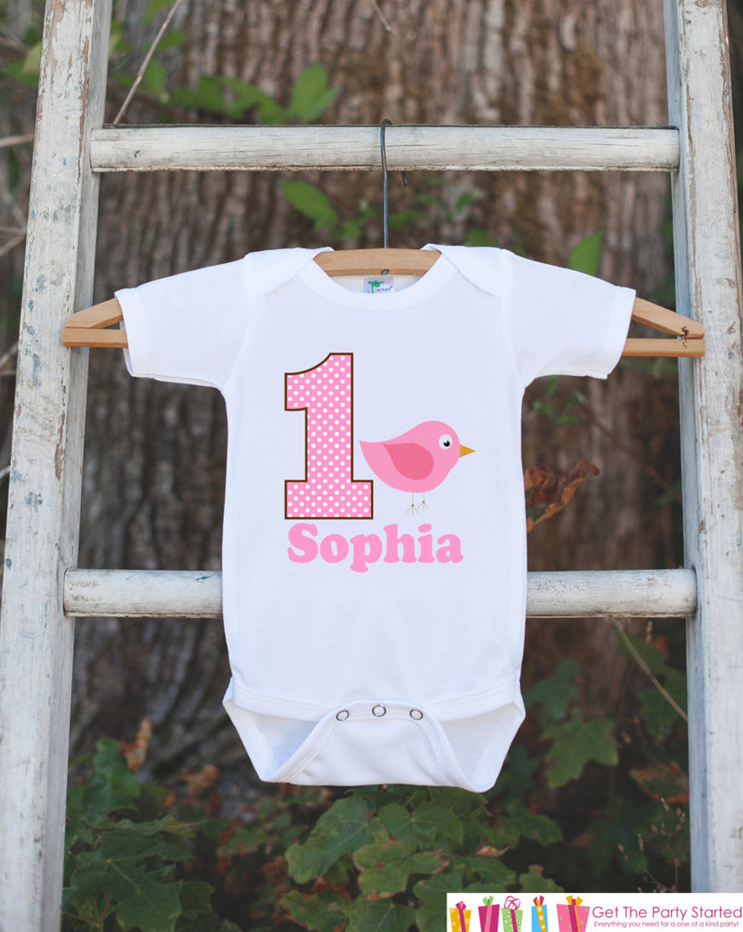 First Birthday Bird Onepiece - Personalized Bodysuit For Girl's 1st Birthday Party - Pink Bird Bodysuit Birthday Outfit - Pink and Brown - Get The Party Started
