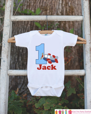 First Birthday Airplane Bodysuit - Personalized Bodysuit For Boy's 1st Birthday Party - Plane Onepiece Birthday Outfit With Name and Age - Get The Party Started