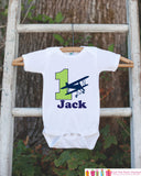 First Birthday Airplane Bodysuit - Personalized Bodysuit For Boy's 1st Birthday Party - Biplane Onepiece Birthday Outfit With Name and Age