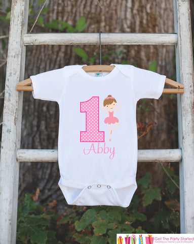 First Birthday Ballerina Bodysuit - Personalized Bodysuit For Girl's 1st Birthday Party - Ballerina Onepiece Birthday Outfit With Name & Age - Get The Party Started