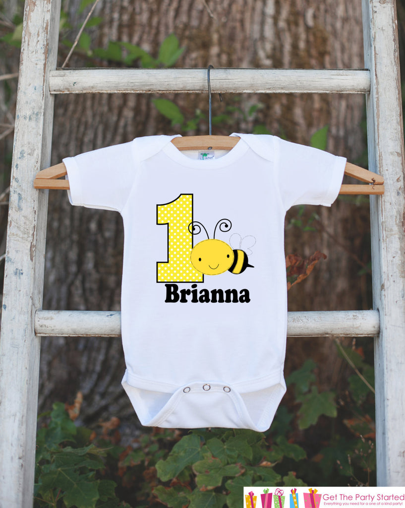 First Birthday Bee Onepiece - Personalized Bodysuit For Girl or Boy 1st Birthday Party - Bee Bodysuit Birthday Outfit - Bumble Bee Outfit - Get The Party Started