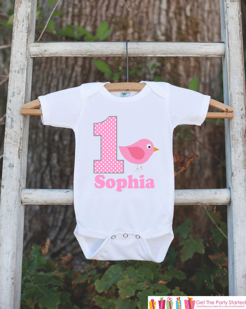 First Birthday Bird Onepiece - Personalized Bodysuit For Girl's 1st Birthday Party - Pink Bird Bodysuit Birthday Outfit - Pink and Grey - Get The Party Started