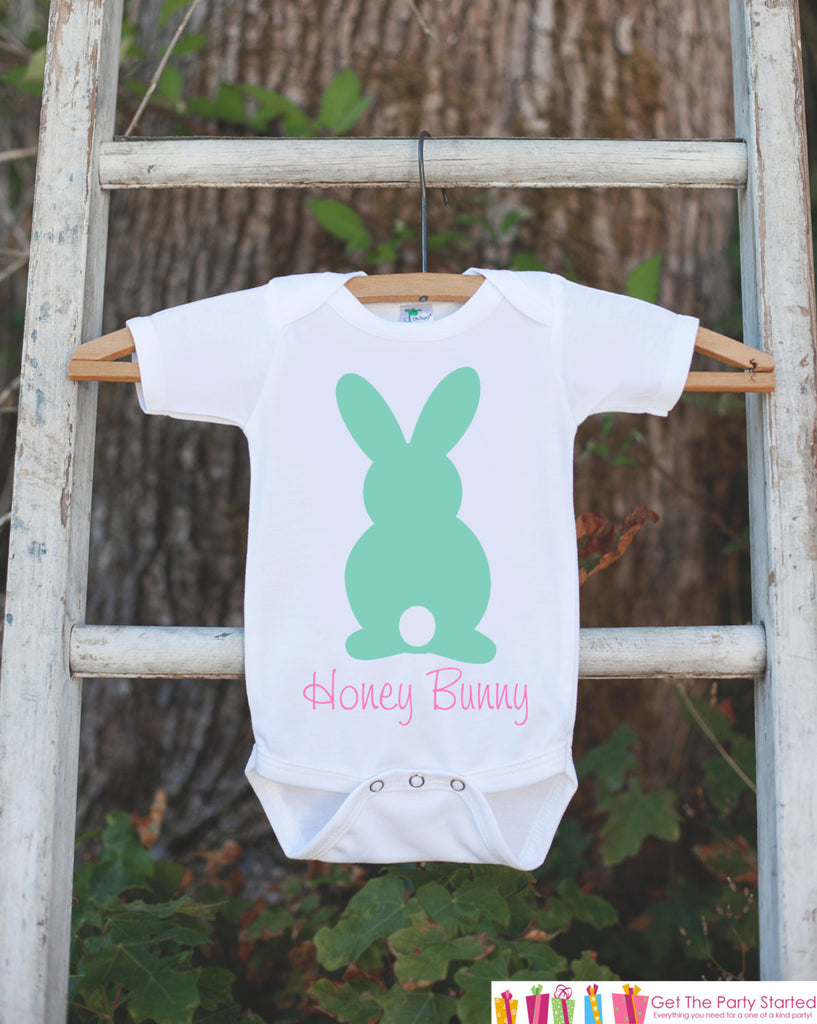 Honey Bunny Onepiece Bodysuit - Novelty Bodysuit Makes a Great Baby Shower Gift for a New Baby Girl - Easter Outfit - Girl's Spring Outfit - Get The Party Started