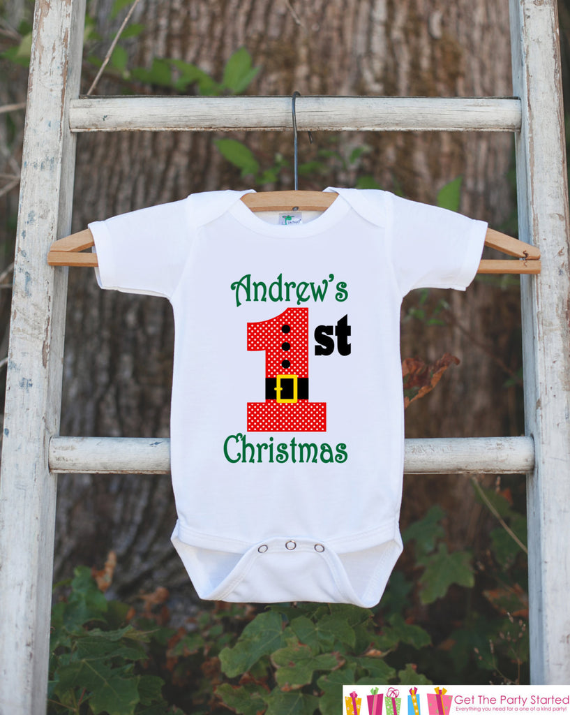 First Christmas Outfit - Christmas Onepiece - Baby's First Christmas With Santa Outfit & Child's Name - Baby Boy's My First Christmas Outfit - Get The Party Started