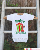 First Christmas Outfit - Christmas Onepiece - Baby's First Holiday Christmas Present Personalized with Name - Newborn Christmas Onepiece - Get The Party Started