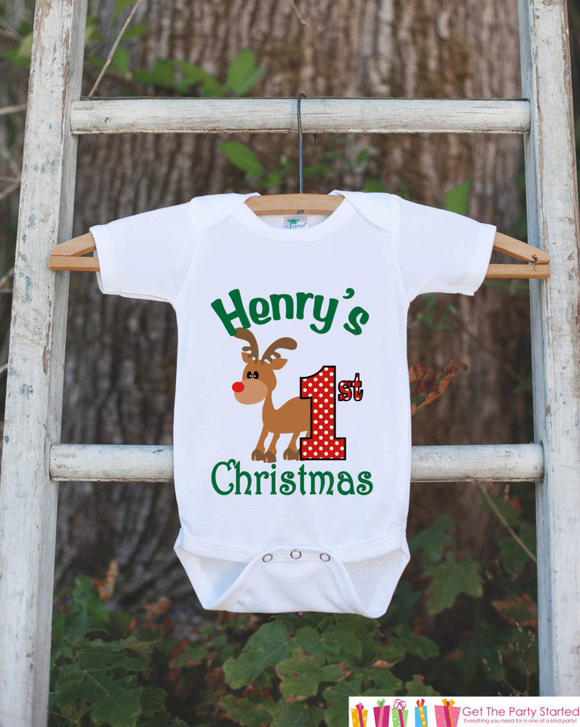 First Christmas Outfit - Christmas Onepiece - Baby's First Holiday Christmas Reindeer Personalized with Name - Newborn Christmas Onepiece - Get The Party Started