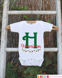Holiday Outfit - Personalized Christmas Onepiece - Custom Christmas Outfit with Child's Name - Holiday Outfit with Christmas Lights - Get The Party Started