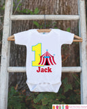 First Birthday Carnival Outfit - Personalized Carnival Bodysuit For Boy's 1st Birthday Party - Circus Bodysuit Birthday Shirt w/ Name & Age - Get The Party Started