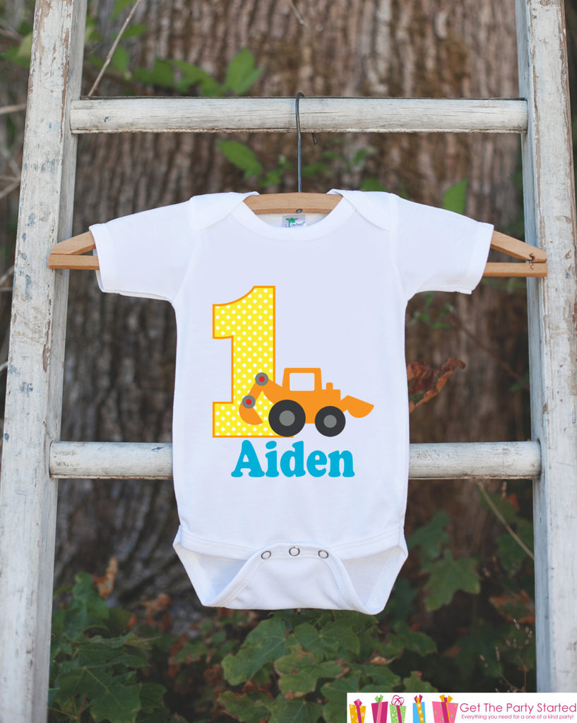 First Birthday Construction Outfit - Personalized Bodysuit For Boy's 1st Birthday Party - Custom Construction Truck Bodysuit Birthday Outfit - Get The Party Started