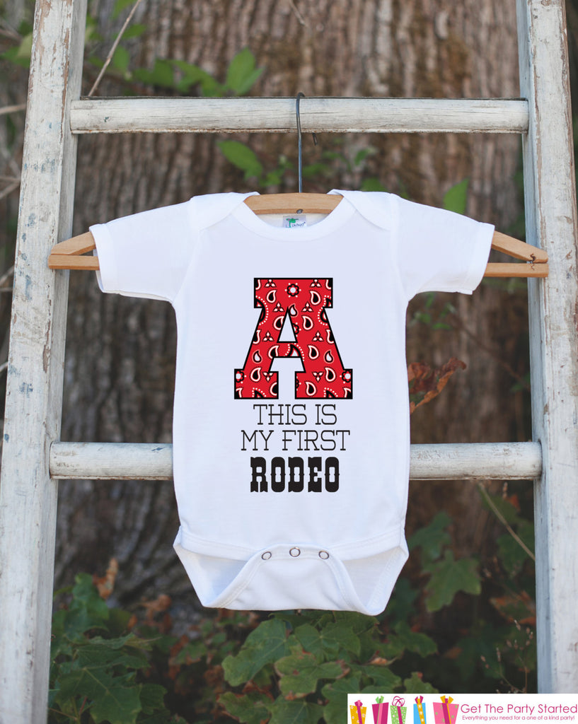 Initial Shirt - This Is My First Rodeo Bodysuit For Boy's 1st Birthday Party - Red Paisley Western Birthday Party Bodysuit Baby's Initial