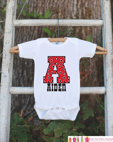 Western Outfit - Personalized Bodysuit For Baby Boy - Red Paisley Initial Shirt with Baby's Name - Cowboy Outfit - Custom Birthday Shirt - Get The Party Started