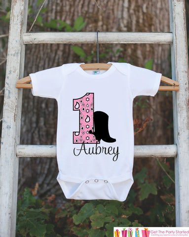 First Birthday Cowgirl Outfit - Personalized Bodysuit For Girl's 1st Birthday Party - Western Birthday Party Bodysuit with Baby's Name & Age - Get The Party Started