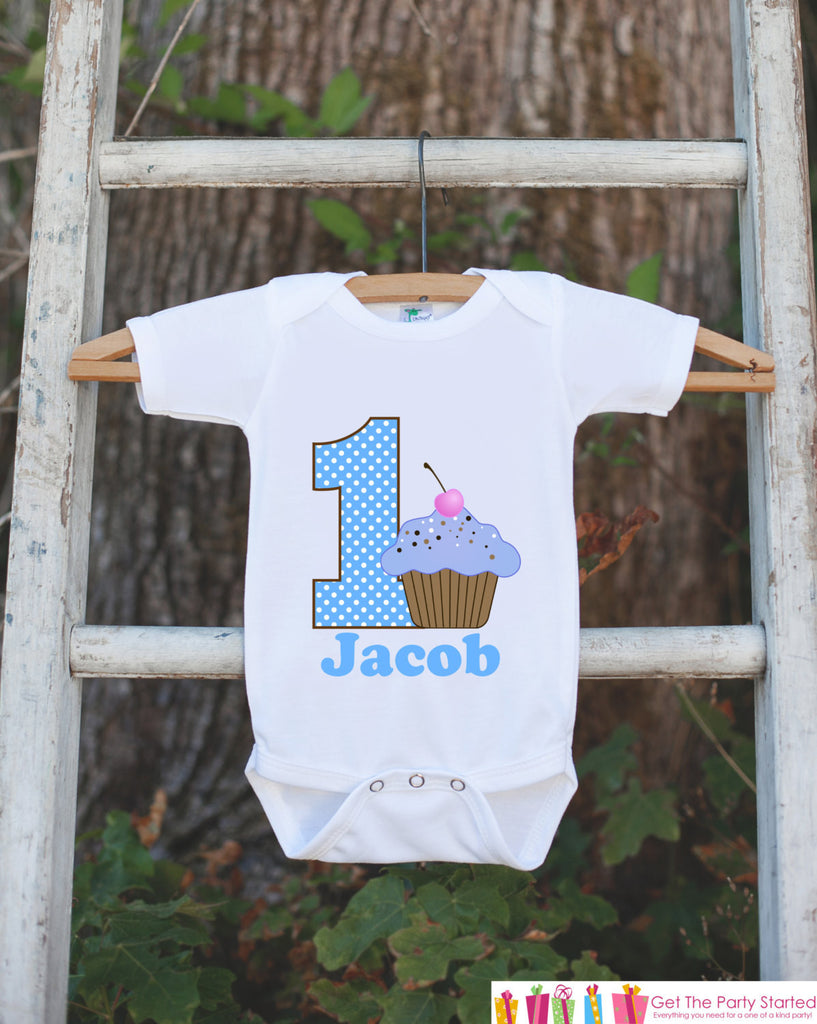 First Birthday Cupcake Bodysuit - Personalized Bodysuit For Boy's 1st Birthday Party - Cupcake Onepiece Birthday Outfit Sweet At One - Get The Party Started