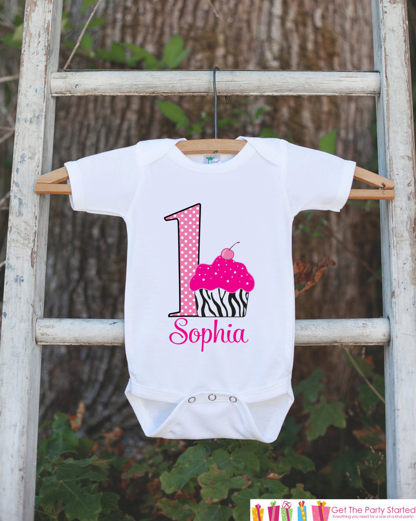 First Birthday Cupcake Bodysuit - Personalized Bodysuit For Girl's 1st Birthday Party - Little Diva Onepiece Birthday Outfit With Name & Age