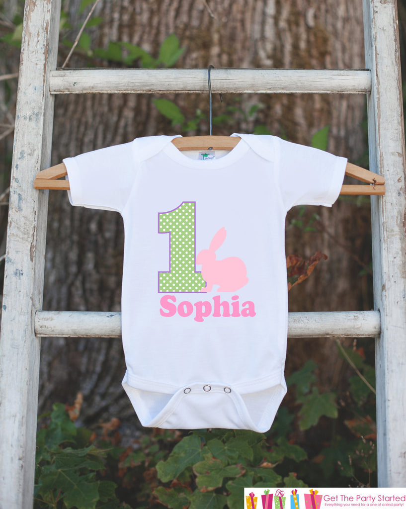 First Birthday Bunny Onepiece - Personalized Bodysuit For Girl's 1st Birthday Party - Bunny Bodysuit Birthday Outfit - Spring Pastel Outfit - Get The Party Started