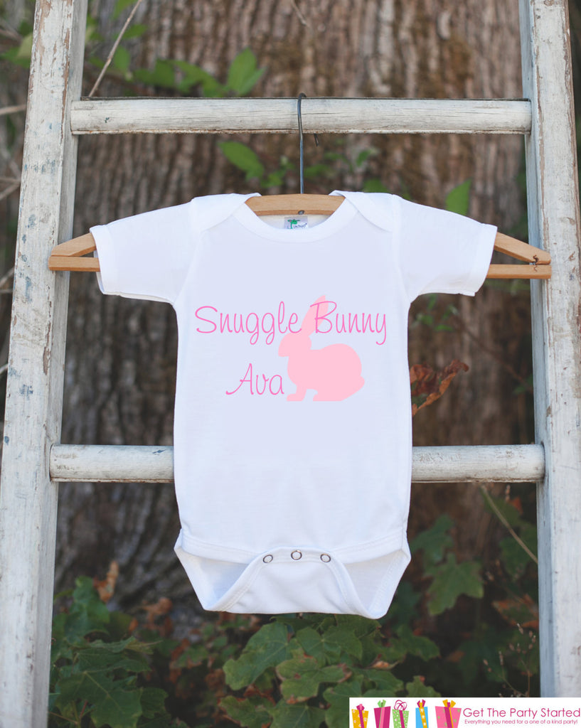 Snuggle Bunny Onepiece Bodysuit - Novelty Bodysuit Makes a Great Baby Shower Gift for a New Baby Girl - Personalized Bunny Outfit for Girls - Get The Party Started