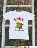First Christmas Outfit - Christmas Onepiece - Baby's First Holiday Christmas Tree Personalized with Name - Newborn Christmas Onepiece - Get The Party Started
