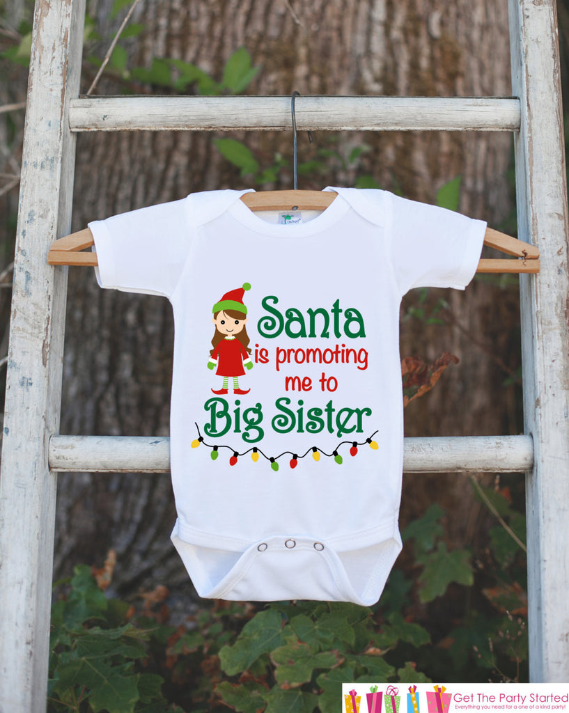 Big Sister Pregnancy Announcement Shirt - Big Sister Holiday Outfit - Big Sister Shirt - Christmas Announcement Shirt - Holiday Onepiece - Get The Party Started