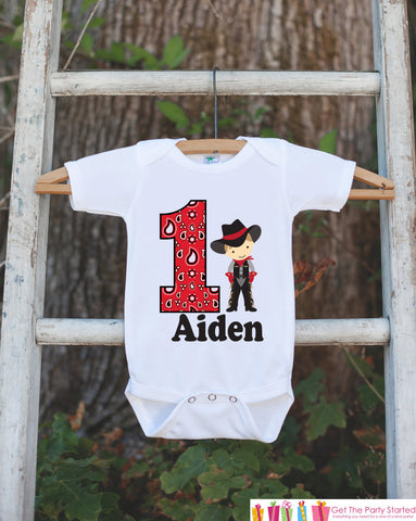 First Birthday Cowboy Outfit - Personalized Bodysuit For Boy's 1st Birthday Party - Western Birthday Party Bodysuit with Baby's Name & Age - Get The Party Started