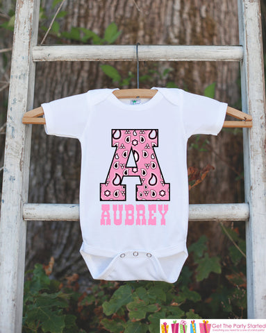 Western Outfit - Personalized Bodysuit For Baby Girl - Pink Paisley Initial Shirt with Baby's Name - Cowgirl Onepiece Custom Birthday Shirt