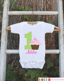 First Birthday Cupcake Bodysuit - Personalized Bodysuit For Girl's 1st Birthday Party - Cupcake Onepiece Birthday Outfit - Hot Pink & Green - Get The Party Started