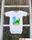 First Birthday Dinosaur Outfit - Personalized Dino Bodysuit For Boy's 1st Birthday Party - Dinosaur Bodysuit Birthday Outfit With Name & Age - Get The Party Started