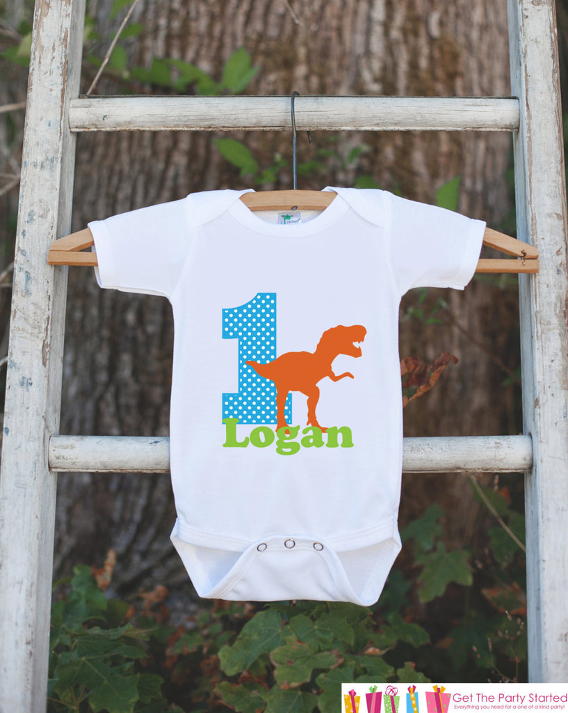 First Birthday T-Rex Outfit - Personalized Dino Bodysuit For Boy's 1st Birthday Party - Dinosaur Bodysuit Birthday Outfit With Name & Age - Get The Party Started
