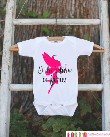 "Fairy Bodysuit - Novelty Fairy Bodysuit For Baby Girl's - Fairy Onepiece Birthday Outfit - ""I do believe in fairies"" in hot pink and black - Get The Party Started"
