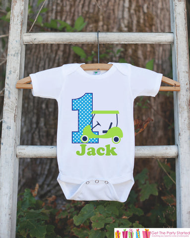 First Birthday Golf Bodysuit - Personalized Bodysuit For Boy's 1st Birthday Party - Golf Onepiece Birthday Outfit - Golf 1st Birthday Outift