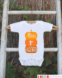 First Halloween Pumpkin Shirt - 1st Halloween Onepiece - Pumpkins with Child's Name - Baby Boy or Baby Girl Halloween Outfit Shirt - Get The Party Started