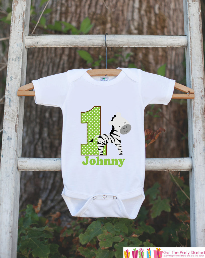 First Birthday Zebra Jungle Onepiece - Personalized Bodysuit For Boy's 1st Birthday Party - Jungle Bodysuit Boys First Birthday Outfit - Get The Party Started