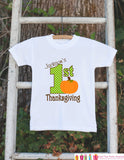 First Thanksgiving Shirt - Thanksgiving Onepiece - Baby's First Thanksgiving With Pumpkin and Child's Name - Boy First Thanksgiving Outfit - Get The Party Started