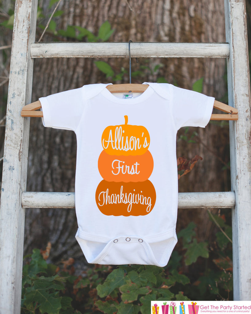 First Thanksgiving Pumpkin Shirt - 1st Thanksgiving Onepiece - Pumpkins with Child's Name - Baby Boy or Baby Girl Thanksgiving Outfit Shirt - Get The Party Started