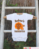 First Thanksgiving Shirt - Thanksgiving Onepiece - Baby's First Thanksgiving With Turkey and Child's Name - Boy First Thanksgiving Outfit - Get The Party Started
