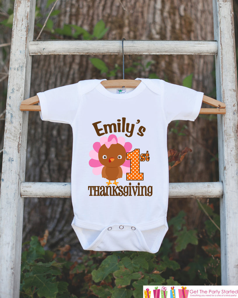 First Thanksgiving Shirt - Thanksgiving Onepiece - Baby's First Thanksgiving With Turkey and Child's Name - Girl First Thanksgiving Outfit - Get The Party Started
