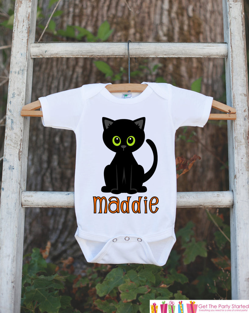 Black Cat Shirt - Cat Halloween Onepiece with Child's Name - Black Cat Silhouette - Baby Boy or Baby Girl Halloween Outfit - Holiday Shirt - Get The Party Started