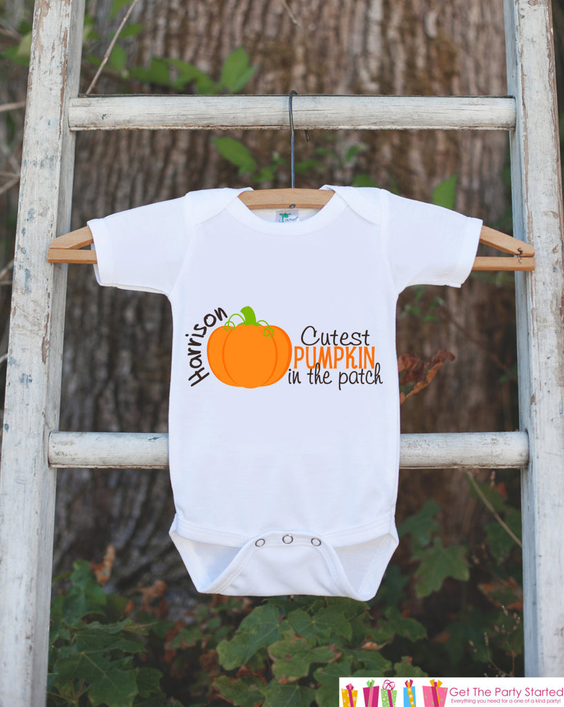 Pumpkin Halloween Shirt - Pumpkin Onepiece - Cutest Pumpkin in the Patch with Child's Name - Baby Fall Halloween Outfit - Novelty Shirt - Get The Party Started
