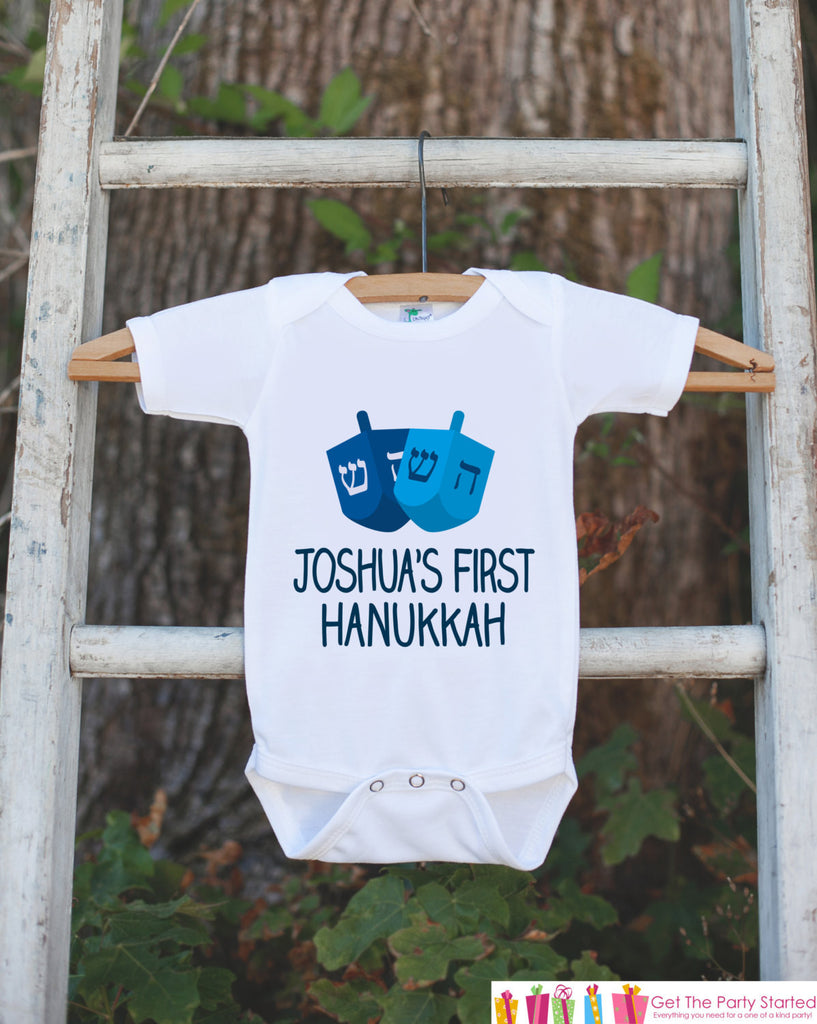 First Hanukkah Outfit, Hanukkah Onepiece, Baby's First Hanukkah Shirt Personalized with Name for Newborn Baby Boy or Baby Girl Hanukkah Gift - Get The Party Started