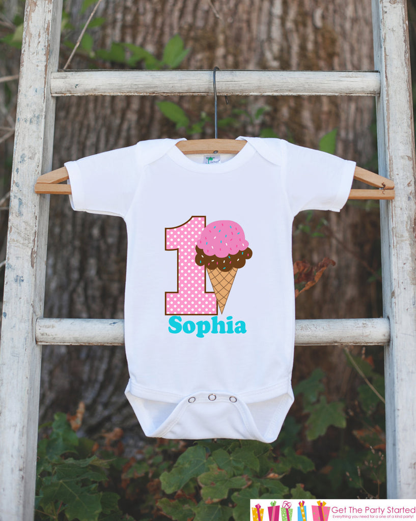 Ice Cream Cone Onepiece Bodysuit - First Birthday Bodysuit - Personalized Ice Cream Outfit with Baby Girl's Name and Age - Pink & Brown - Get The Party Started